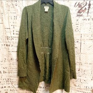 L.L. Bean Open Front Cinch Back Cardigan Sweater